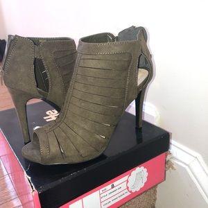 Olive green peep toe heels